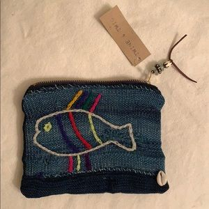 Twine & Twig OOAK zip bag with fish & cowrie shell